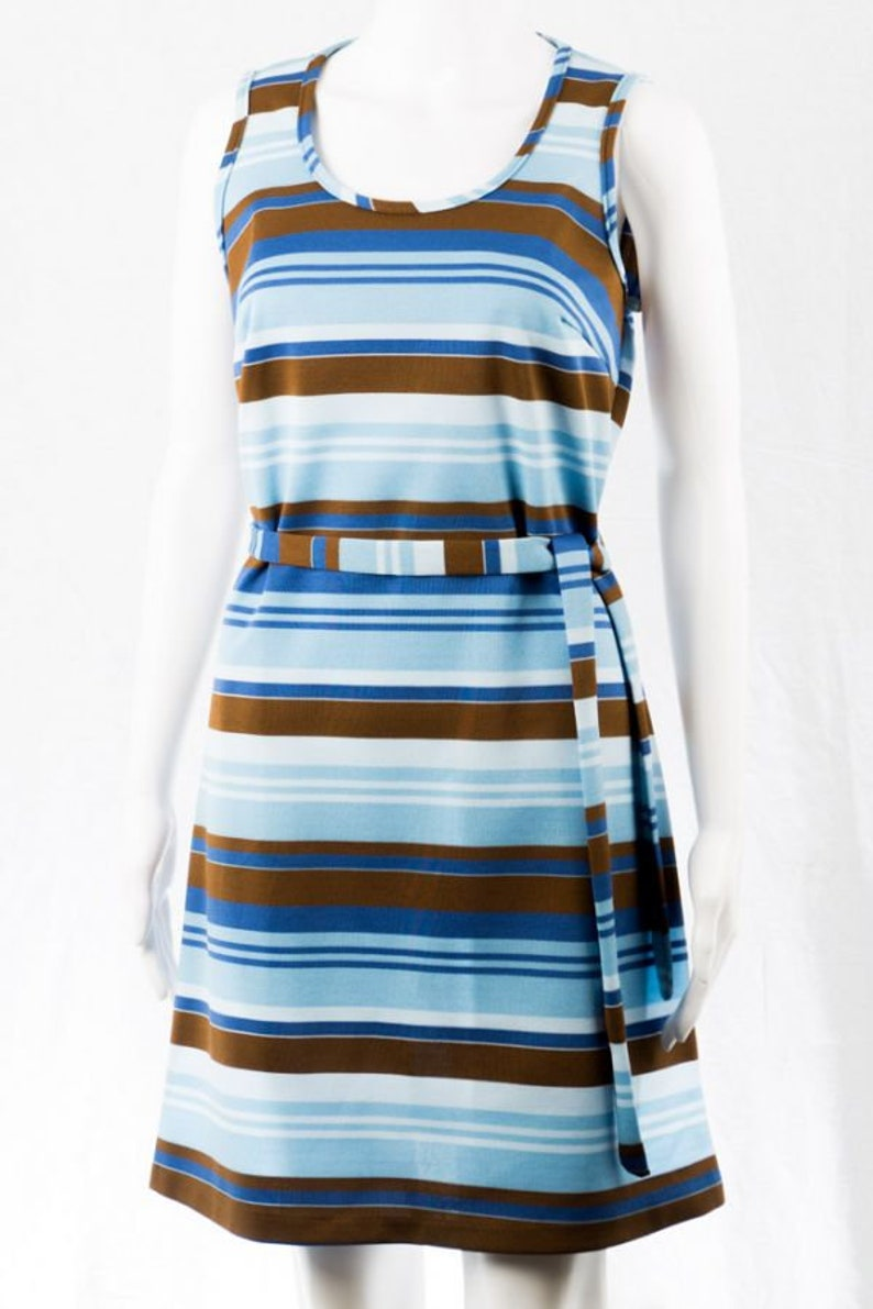 Blue Striped Summer Dress S 60/'s Minidress