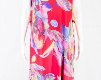Colorful vintage dress L 80s Oversized Look S M Summer dress