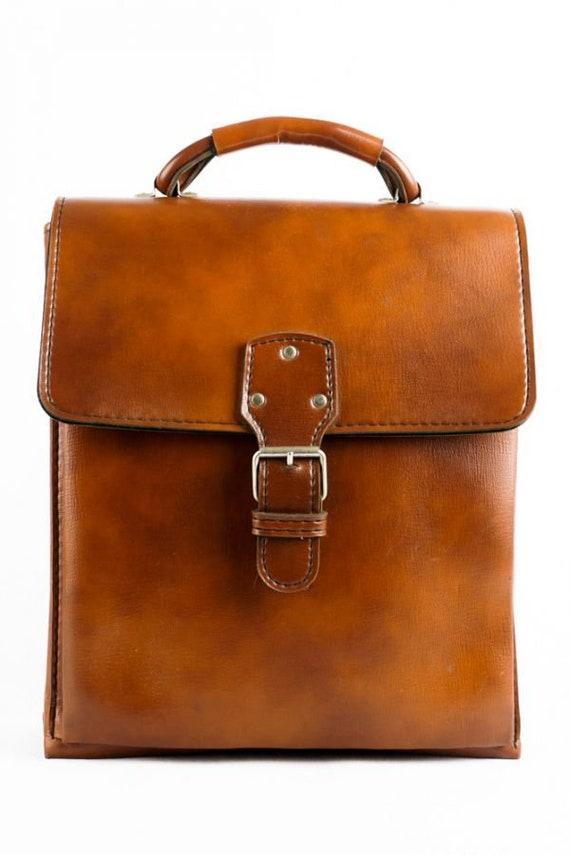 Vintage Cognac Handle Bag Cognac 70s Briefcase Fau