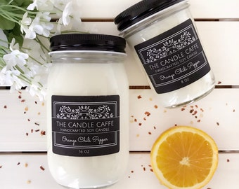 Orange Chili Pepper Soy Candle | Scented Soy Candle | 16 oz. | 8 oz. | Mason Jar | Gift Ideas | The Candle Caffe