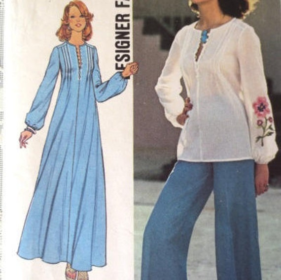 Womans Bohemian Dress Top Pants Sewing Pattern Etsy