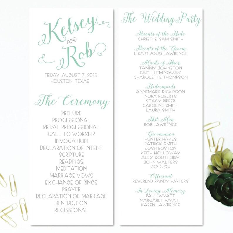 PDF & JPEG OPTION | Wedding Program 3 | Order of Service | Wedding Party |  Flat Double-Sided | 4 25