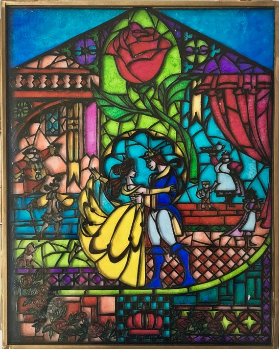 Beauty And The Beast Stained Glass Window Panel Etsy