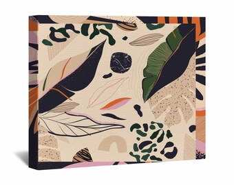 Trendy Canvas Wall Art, Leaves In Different Patterns Wall Art, Beige Green And Black Wall Decor, Modern Abstract Canvas, Leaf Print Canvas