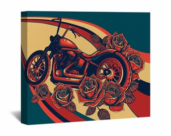 Motorcycle Canvas Wall Art, Cool Motorcycle And Roses Wall Art, Yellow And Blue Wall Decor, Red Motorbike Canvas, Red Roses Artwork Canvas