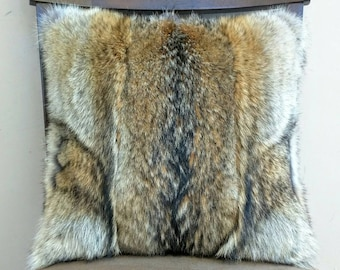 Genuine Wild Coyote Fur Decorative Pillow Cover. 16x16 includes insert.