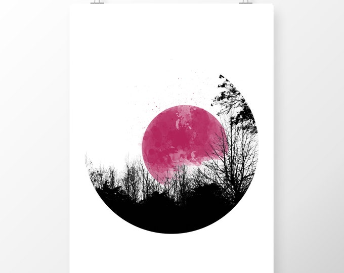 Featured listing image: Art Print Pink Moon