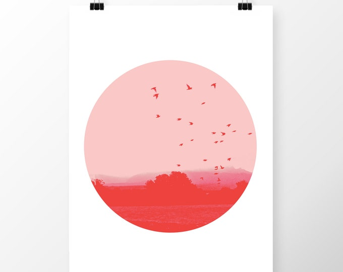 Art Print Birds in Flight Red