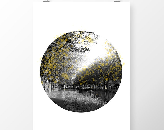 Featured listing image: Art Print Grand Canal Dublin in Autumn