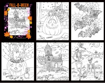 Adult coloring pages,fall,halloween 5 page pdf set