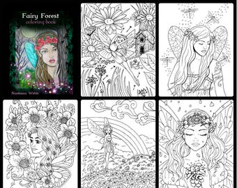 adult coloring ,#2 FAIRY COLORING PAGE #2 ,...5 page set,pdf,printables