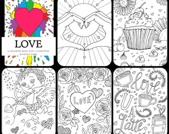 Adult coloring page,valentine 5 page set - ON SALE-,(LOVE) pdf download...by Nashana Webb