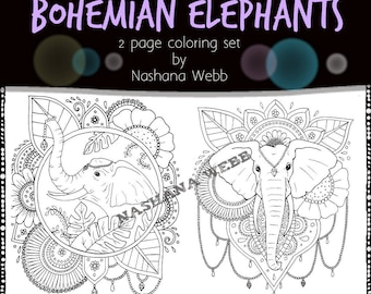 coloring pages,adult coloring,Bohemian Elephants,2 pages by Nashana Webb