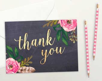 Thank You Card | Set of 4, 10, 25 or 50 | Chalkboard Floral Card | Matte Faux Gold Foil Card | Thank You Card Set | Wedding Thank You Cards