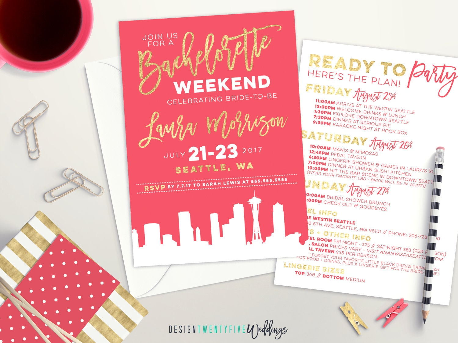 City Skyline Bachelorette Party Invite Pink and Gold Bridal | Etsy