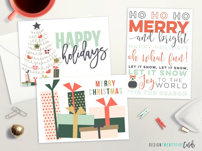 Modern Holiday Card Set | Set of 6, 12, 24 or 48 | Mixed Holiday Card Set | Christmas Cards Set | Typography Holiday Card | Happy Holidays