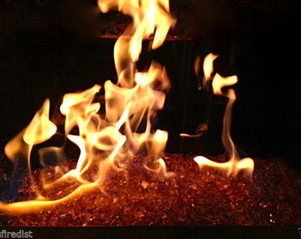 """10 LBS Pounds Fireglass 1/4"""" Champagne Fire Glass - Tempered Glass for Fireplace & Firepit"""
