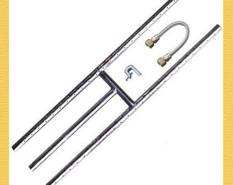 """Fireplace & Fire PITit Burner - Size: 24"""" X 6"""" H BURNER Stainless Steel + FLEX CONNECTOR"""