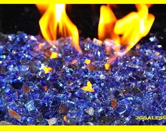 """10 LBS Pounds Fireglass 1/4"""" Reflective Cobalt Blue Fire Glass - Tempered Glass for Fireplace & Firepit"""
