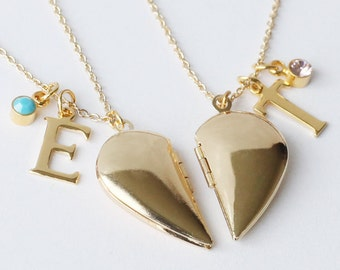 8d6c16f80b gold half heart locket Necklaces, love locket initial necklaces best  friends necklace Graduation gift, Boyfriend Girlfriend Gift Friendship