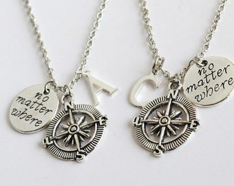 best friends necklace Compass necklace no matter where necklace, unique pendant, Birthday Gift,Compass jewelry, friendship graduation gift,
