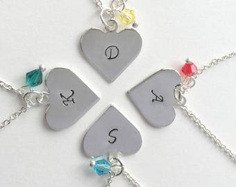 4 Sisters Necklace, Bridesmaid necklace, bff necklace,  silver heart necklace set, Customize Jewelry friendship necklace, Christmas gift