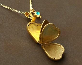 vintage heart locket Necklaces, Family locket Four Photos Heart Locket, Clover locket, Swarovski BirthStone, gift for mom Mother's Day gift
