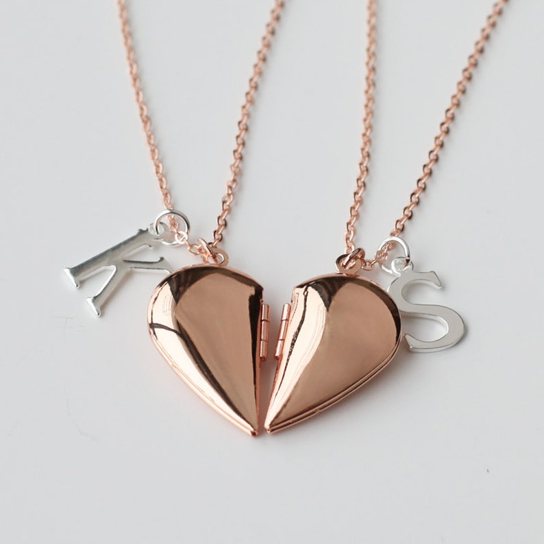 Fashion Jewelry 2 Part Best Friends Heart Shape Pendant Necklace Antique Bronze Gold Party Bag Jewelry & Watches