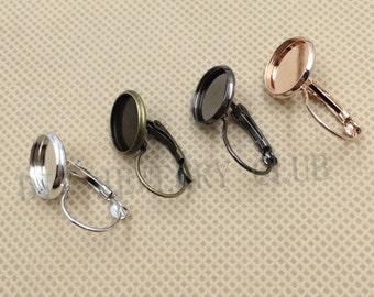 50PCS 12MM Round Bezel Earring Hooks Earring Blank Bases
