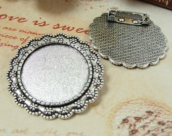 20pcs Brooch Bases, Antique Silver Round Brooch Setting, 25mm Brooch Settings, Brooch Backs