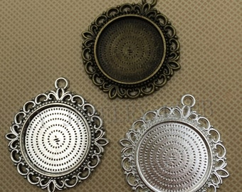 20Pieces/lot 25mm/1 inch Round Zinc Alloy Pendant Trays Blanks Bases Cameo Cabochon Setting fit 25mm/1 inch Round Cabochons