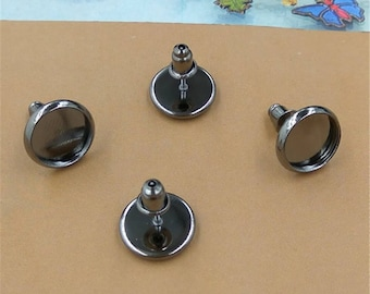 50 pairs (100 pcs) gun metal black earring Studs 10mm-12mm Cabochon Bezel Setting Nickel Free