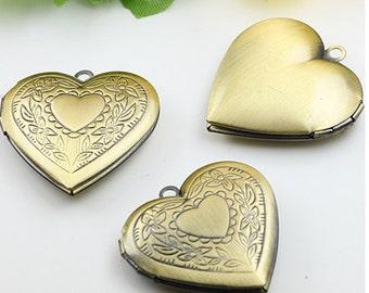 10pcs/lot 28mm Heart Shape Locket pendant, vintage style pendant, Antique Bronze- Lockets for Women