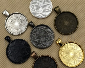 40Pieces 1 inch Round Zinc Alloy Pendant Trays Blanks Bases Cameo Cabochon Setting fit 25mm/1 inch Round Cabochons