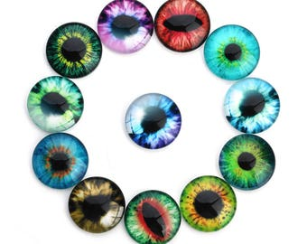 20Pieces 10-25mm Mixed Round Flatback Dragon Eye Pattern Photo Glass Cabochons Cameo Cover Cabochon Domes fit Cameo Settings