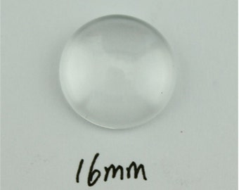 200pcs Clear Round Flatback Glass Cabochon Dome 16mm