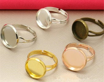 50PCS Adjustable RING BLANKS Beveled pad for 10-20mm Cabochon Bezel edge