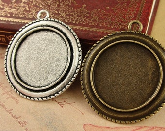 30pcs/lot Zinc Alloy Pendant Trays Blanks Bases Cameo Cabochon Setting fit 25mm/1 inch Round Cabochons