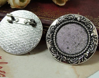 20pcs Brooch Bases, Brooch Setting, 20mm Antique Silver Round Brooch Settings, Brooch Backs