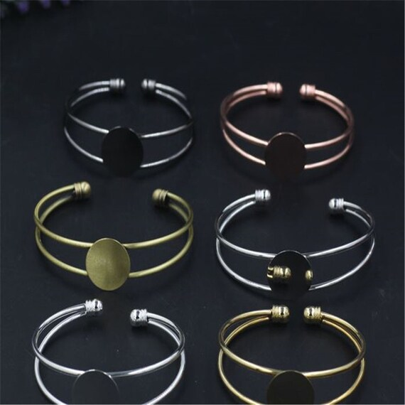 5pcs Bracelet With 20MM Round Setting,Cuff,Adjustable,Silver Plated,bezel blanks,bracelet base,Antique Bronze