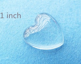 10% OFF-100PCS 1 Inch Heart Glass Crystal Clear Perfect For Our Blank Bezel Trays 25mm Flat Back Smooth Transparent Glass Cabochons