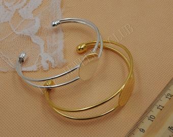 BIG BIG DISCOUNT-10PCS 20MM Round Shallow Bezel Adjustable Cuff Bracelet Blank Bases Setting, Bracelet Pad