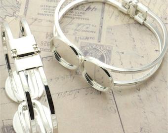 10PCS Silver Bracelet with Two 20mm Round Bezels Cuff Bracelet Blank Bases Setting, Bracelet Settings