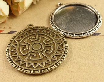 20pcs/lot Zinc Alloy Pendant Trays Blanks Bases Cameo Cabochon Setting fit 30mm Round Cabochons