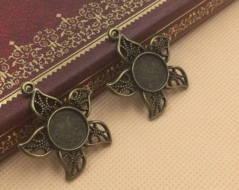 50PCS Star Shape 12mm Antique Bronze Blank Tray Pendants Bezel Settings for Glass Stickers