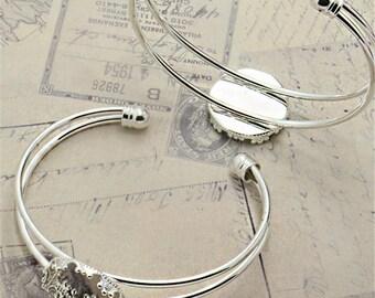 10PCS 20MM Silver Round Bezel Cuff Bracelet Blank Bases Setting, Bracelet Settings