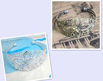 10PCS 35*60mm Adjustable Bracelet,Flower bangle Trays- Bracelet Base Supplies, Charm bracelet