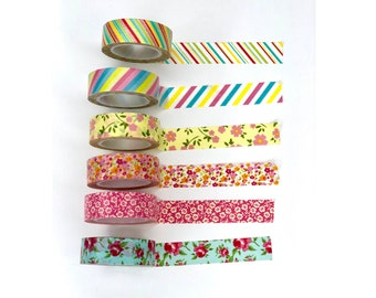 """6 Washi Tape SAMPLES, Decoration tape masking, Colorful Washi Tape patterns 38"""", Florals and Stripes"""