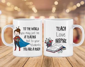 Teacher Mug | Personalized Teacher Hero present for woman | Teacher Appreciation Gift Coffee Mug (Can be Personalized)
