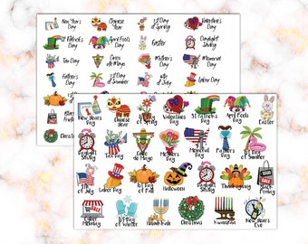 Calendar Holiday Stickers | Planner Stickers | Calendar Holiday Icons